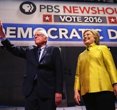 Bernie Sanders and Hillary Clinton Enter the PBS NewsHour Democratic Debate