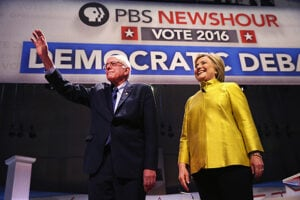 Bernie Sanders and Hillary Clinton Enter the PBS NewsHour Democratic Debate
