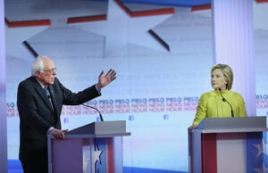 Bernie Sanders and Hillary Clinton at PBS NewsHour Democratic Debate