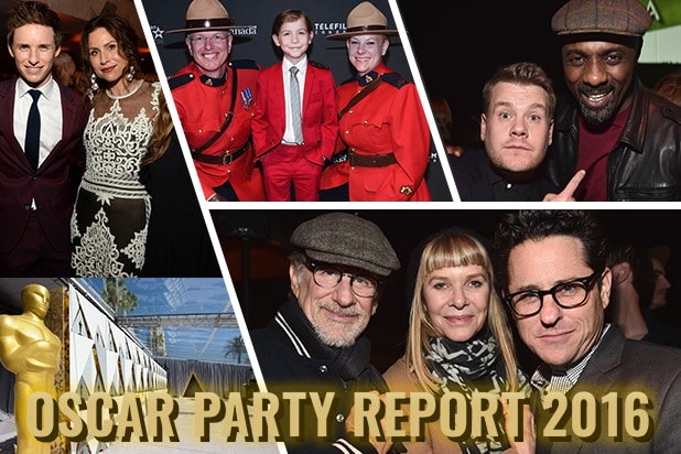 Eddie Redmayne, Minnie Driver, Idris Elba, and power directors Steven Spielberg and J.J. Abrams top the pre-Oscar party circuit. (Getty Images)