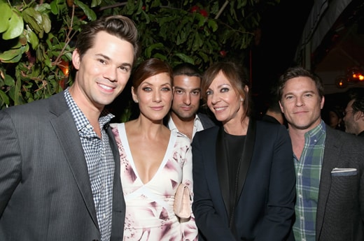 LOS ANGELES, CA - FEBRUARY 25: (L-R) Actors Andrew Rannells, Kate Walsh, Philip Joncas, Allison Janney and Michael Doyle attend the Cadillac Oscars Week Celebration at Chateau Marmont on February 25, 2016 in Los Angeles, California. (Photo by Jonathan Leibson/Getty Images for Cadillac)