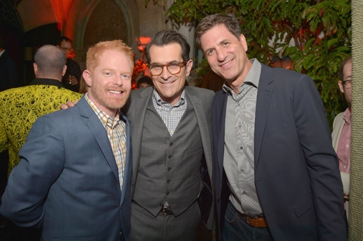 LOS ANGELES, CA - FEBRUARY 25: (L-R) Actors Jesse Tyler Ferguson, Ty Burrell and producer Steven Levitan attend the Cadillac Oscars Week Celebration at Chateau Marmont on February 25, 2016 in Los Angeles, California. (Photo by Charley Gallay/Getty Images for Cadilllac)