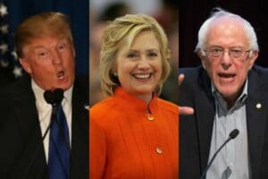 Hillary Clinton, Bernie Sanders, and Donald Trump