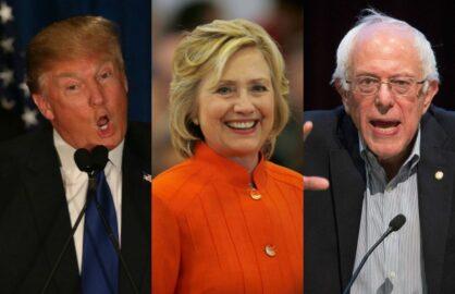 Hillary Clinton, Bernie Sanders, and Donald Trump