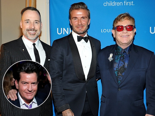 David Furnish and Elton John honored pal David Beckham at a Unicef event. This week, Furnish, the chairman of the Elton John Aids Foundation, spoke to TheWrap about the prospect of Charlie Sheen joining the fundraiser. (Getty Images)