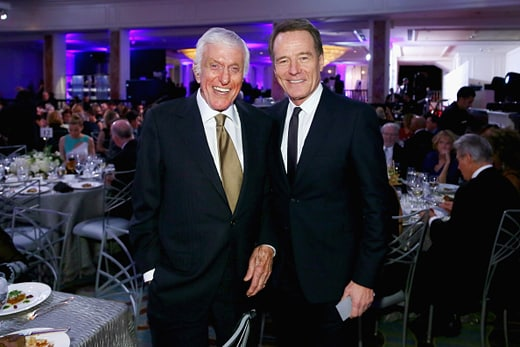 BEVERLY HILLS, CA - FEBRUARY 08: Actors Dick Van Dyke (L) and Bryan Cranston attend AARP's Movie For GrownUps Awards at the Beverly Wilshire Four Seasons Hotel on February 8, 2016 in Beverly Hills, California. (Photo by Gabriel Olsen/Getty Images for AARP)