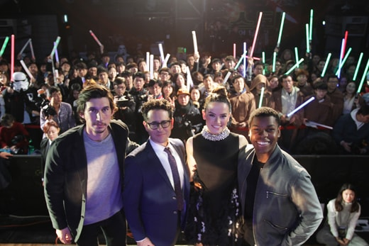 SEOUL, SOUTH KOREA - DECEMBER 09: (L to R) Actor Adam Driver, director J.J. Abrams, actress Daisy Ridley and actor John Boyega attend the event for fans ahead of 'Star Wars: The Force Awakens' South Korea premiere at the Octagon on December 9, 2015 in Seoul, South Korea. (Photo by Chung Sung-Jun/Getty Images for Walt Disney Studios)