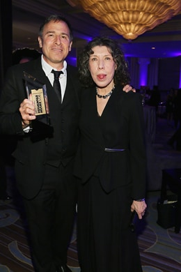 BEVERLY HILLS, CA - FEBRUARY 08: Director David O. Russell (L) and actress Lily Tomlin attend AARP's Movie For GrownUps Awards at the Beverly Wilshire Four Seasons Hotel on February 8, 2016 in Beverly Hills, California. (Photo by Gabriel Olsen/Getty Images for AARP)