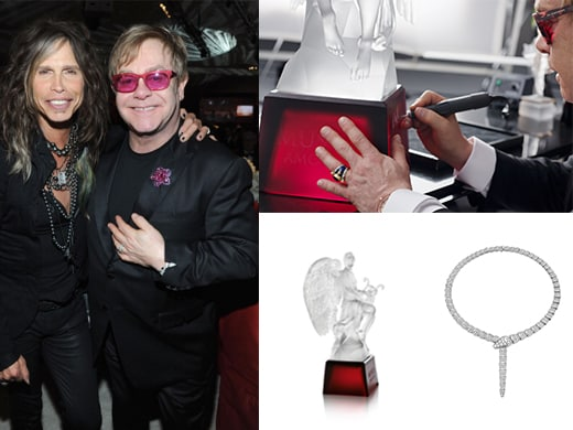 "Tyler has often kicked in items for the auction that ends the night. At top right, Elton signs a one-of-a-kind Lalique sculpture he designed called ""Music is Love"" made from a now-destroyed wax mold, so no more can be made. At right, BVLGARI is bringing in a Serpenti necklace and two high end watches."