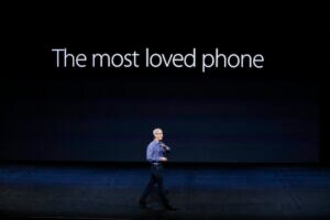 Apple CEO Tim Cook introduces a new iPhone model in 2015