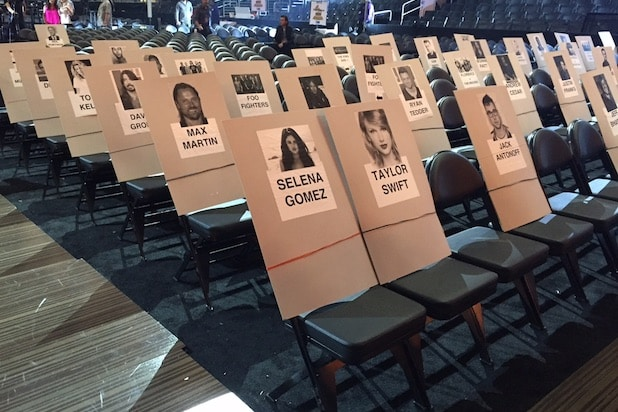 seat cards at Grammy rehearsals