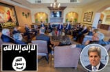 John Kerry and ISIS flag