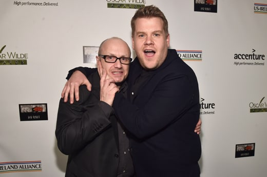 SANTA MONICA, CA - FEBRUARY 25: Director Lenny Abrahamson (L) and actor James Corden attend the Oscar Wilde Awards at Bad Robot on February 25, 2016 in Santa Monica, California. (Photo by Alberto E. Rodriguez/Getty Images for US-Ireland Alliance)