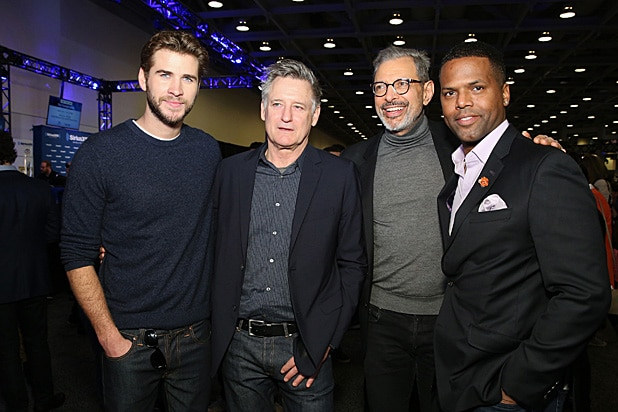 Liam Hemsworth, Bill Pullman, Jeff Goldblum and A. J. Calloway visit the SiriusXM set at Super Bowl 50 Radio Row at the Moscone Cent