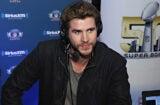 Liam Hemsworth at Sirius Radio during Super Bowl 50