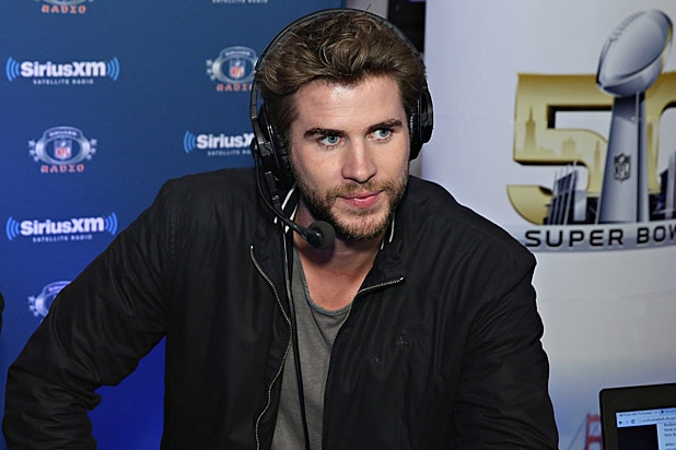 Liam Hemsworth at Sirius Radio during Super Bowl 50
