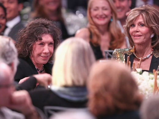 BEVERLY HILLS, CA - FEBRUARY 08: Actresses Lily Tomlin (L) and Jane Fonda attend AARP's Movie For GrownUps Awards at the Beverly Wilshire Four Seasons Hotel on February 8, 2016 in Beverly Hills, California. (Photo by Gabriel Olsen/Getty Images for AARP)