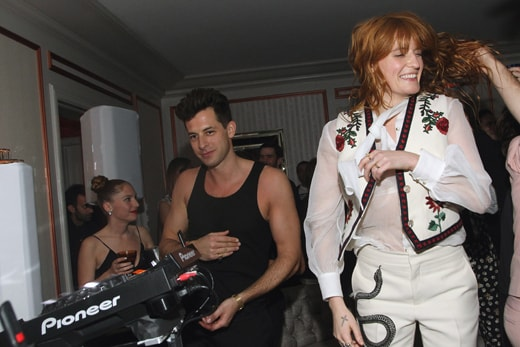 LOS ANGELES, CA - FEBRUARY 15: Musicians Mark Ronson (L) and Florence Welch attend the Absolut Elyx Hosts Mark Ronson's Grammy's Afterparty at Elyx House Los Angeles on February 15, 2016 in Los Angeles, California. (Photo by Tommaso Boddi/Getty Images for Absolut Elyx)
