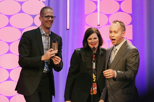 BEVERLY HILLS, CA - FEBRUARY 08: Director Pete Docter (L) and producer Jonas Rivera (R) accept the award for Best Movie for Grownups Who Refuse to Grow Up for 'Inside Out' from comedian Paula Poundstone (C) onstage during AARP's Movie For GrownUps Awards at the Beverly Wilshire Four Seasons Hotel on February 8, 2016 in Beverly Hills, California. (Photo by Gabriel Olsen/Getty Images for AARP)