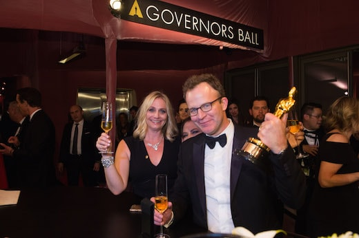Earlier at the Governors Ball, McCarthy's statue was not wandering. (AMPAS)