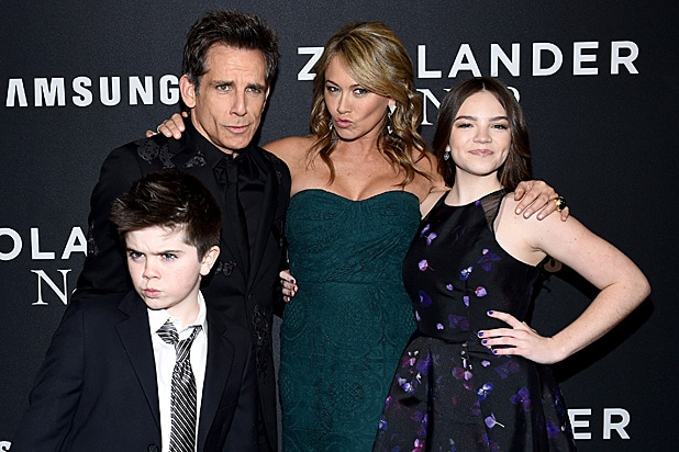 Quinlin Stiller, Ben Stiller, Christine Taylor and Ella Stiller attend the Zoolander 2 premiere