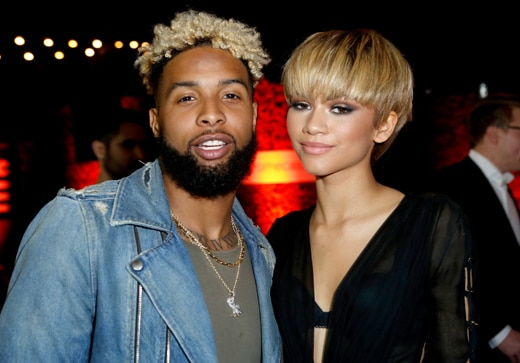 LOS ANGELES, CA - FEBRUARY 15: NFL player Odell Beckham, Jr. (L) and singer Zendaya attends the Republic Records Grammy Celebration presented by Chromecast Audio at Hyde Sunset Kitchen & Cocktail on February 15, 2016 in Los Angeles, California. (Photo by Randy Shropshire/Getty Images for Republic Records)