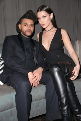LOS ANGELES, CA - FEBRUARY 15: Recording artist The Weeknd (L) and model Bella Hadid attend the Republic Records Grammy Celebration presented by Chromecast Audio at Hyde Sunset Kitchen & Cocktail on February 15, 2016 in Los Angeles, California. (Photo by Imeh Akpanudosen/Getty Images for Republic Records)