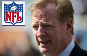 Roger Goodell and NFL logo
