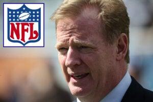 Roger Goodell and NFL logo