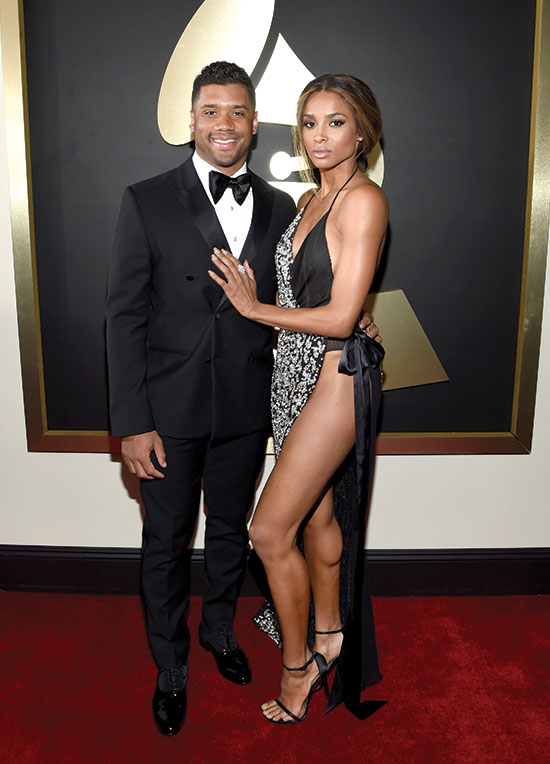 Russell Wilson, Ciara arrive at the Grammys