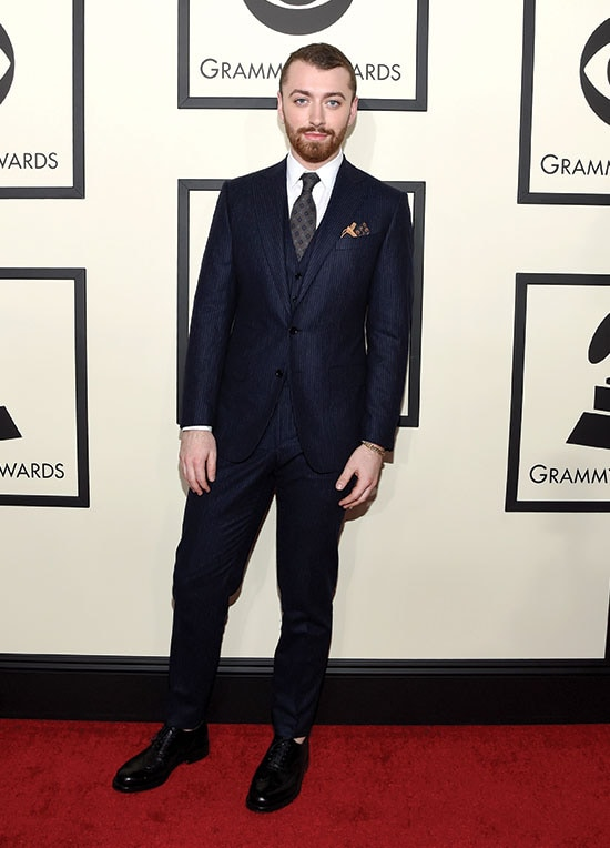 Sam Smith arrives at the 2016 Grammys