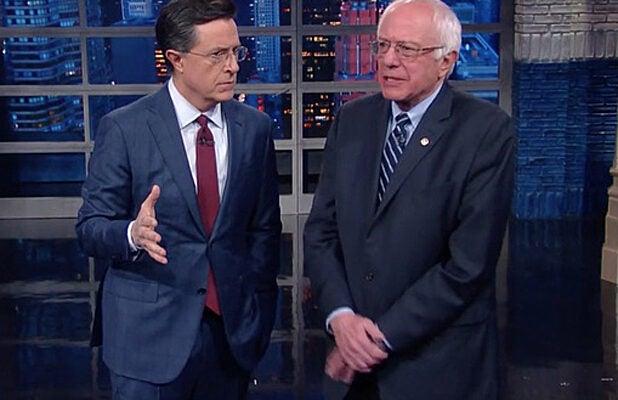 Stephen Colbert and Bernie Sanders