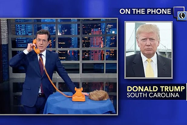 Stephen Colbert on phone with Donald Trump