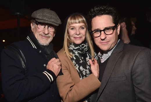 SANTA MONICA, CA - FEBRUARY 25: (L-R) Director Steven Spielberg, Kate Capshaw and director J.J. Abrams attend the Oscar Wilde Awards at Bad Robot on February 25, 2016 in Santa Monica, California. (Photo by Alberto E. Rodriguez/Getty Images for US-Ireland Alliance)