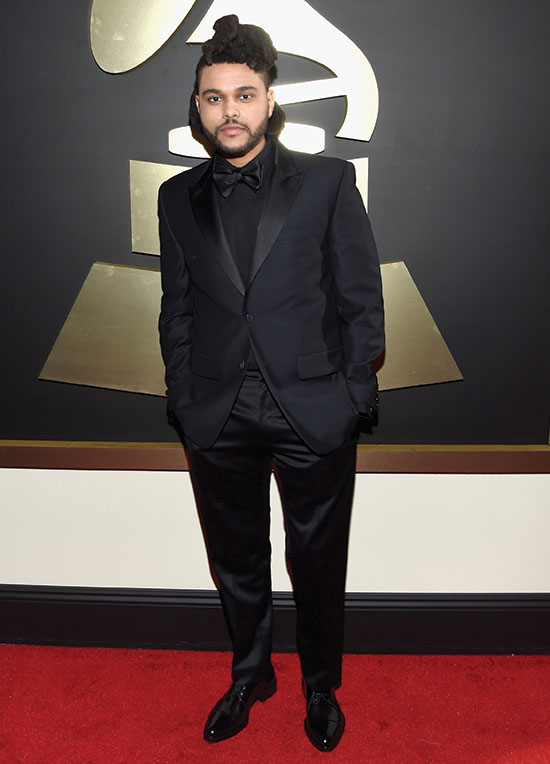 The Weeknd arrives at 2016 Grammys