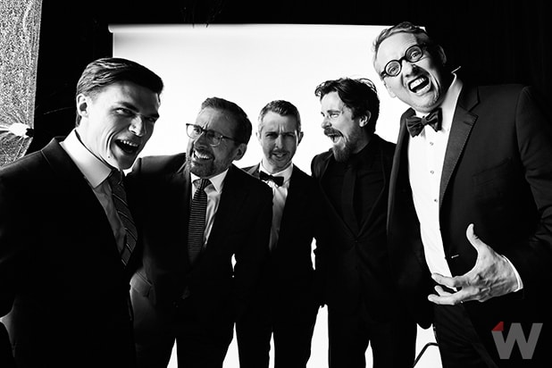 Finn Wittrock, Steve Carell, Jeremy Strong, Christian Bale, and Adam McKay