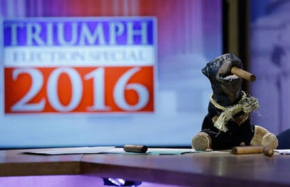 "NEW YORK, NY - FEBRUARY 03: Triumph, the Insult Comic Dog attends Hulu Presents ""Triumph's Election Special"" produced by Funny Or Die at NEP Studios on February 3, 2016 in New York City. (Photo by John Lamparski/Getty Images for Hulu)"