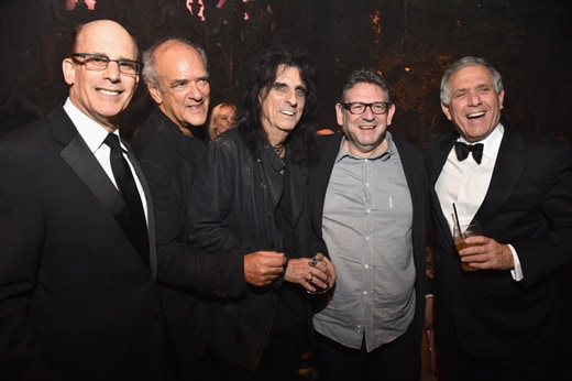 LOS ANGELES, CA - FEBRUARY 15: (L-R) President of Universal Music Enterprises Bruce Resnikoff, guest, musician Alice Cooper, CBE Chairman and CEO Lucian Grainge and President of CBS Leslie Moonves attends Universal Music Group 2016 Grammy After Party presented by American Airlines and Citi at The Theatre at Ace Hotel Downtown LA on February 15, 2016 in Los Angeles, California. (Photo by Lester Cohen/Getty Images for Universal Music Group)