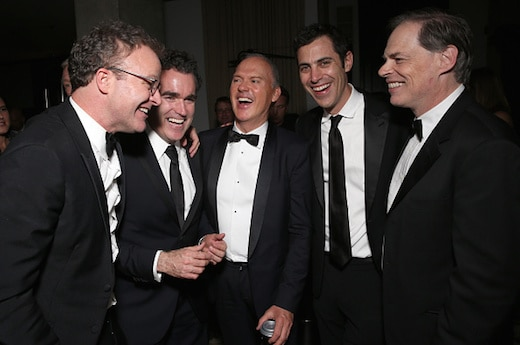 WEST HOLLYWOOD, CA - FEBRUARY 28: Writer/Director Tom McCarthy, Brian d'Arcy James, Michael Keaton, Writer Josh Singer and Open Road's Tom Ortenberg attend the SPOTLIGHT Oscar After-Party Hosted By Open Road, Participant Media, And First Look Media on February 28, 2016 in West Hollywood, California. (Photo by Todd Williamson/Getty Images for Participant Media)