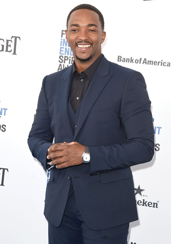 anthony mackie arrives at the 2016 Spirit Awards