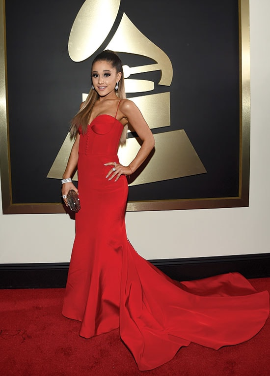 Ariana Grande arrives at the 2016 Grammys