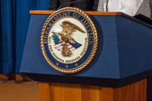 The seal of the Justice Department