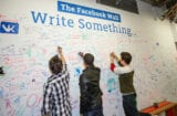 "Facebook's Menlo Park ""Wall"" lets workers and visitors write messages and leave signatures"