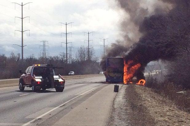 megabus bus fire