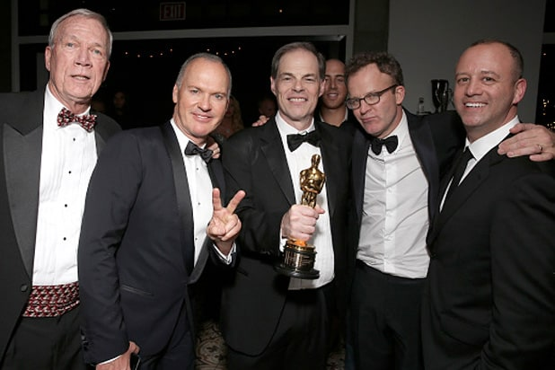 Walter 'Robby' Robinson and Michael Keaton, Open Road's Tom Ortenberg, Director Tom McCarthy and First Look's Michael Bloom attend the SPOTLIGHT Oscar After-Party Hosted By Open Road, Participant Media, And First Look Media on February 28, 2016 in West Hollywood, California