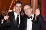Josh Singer (R) and Tom McCarthy, winners of the award for Best Original Screenplay for 'Spotlight,' attend the 88th Annual Academy Awards Governors Ball at Hollywood & Highland Center on February 28, 2016 in Hollywood, California
