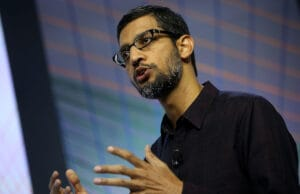 Google CEO Sundar Pichai speaks during a media event