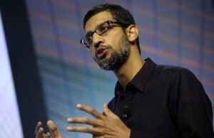 Google CEO Sundar Pichai speaks during a media event