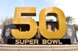Super Bowl 50 signage is displayed in San Francisco