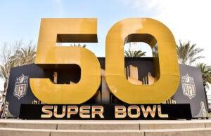 Super Bowl 50 signage is displayed in San Francisco